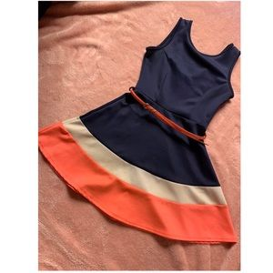 Navy blue with white and neon orange dress